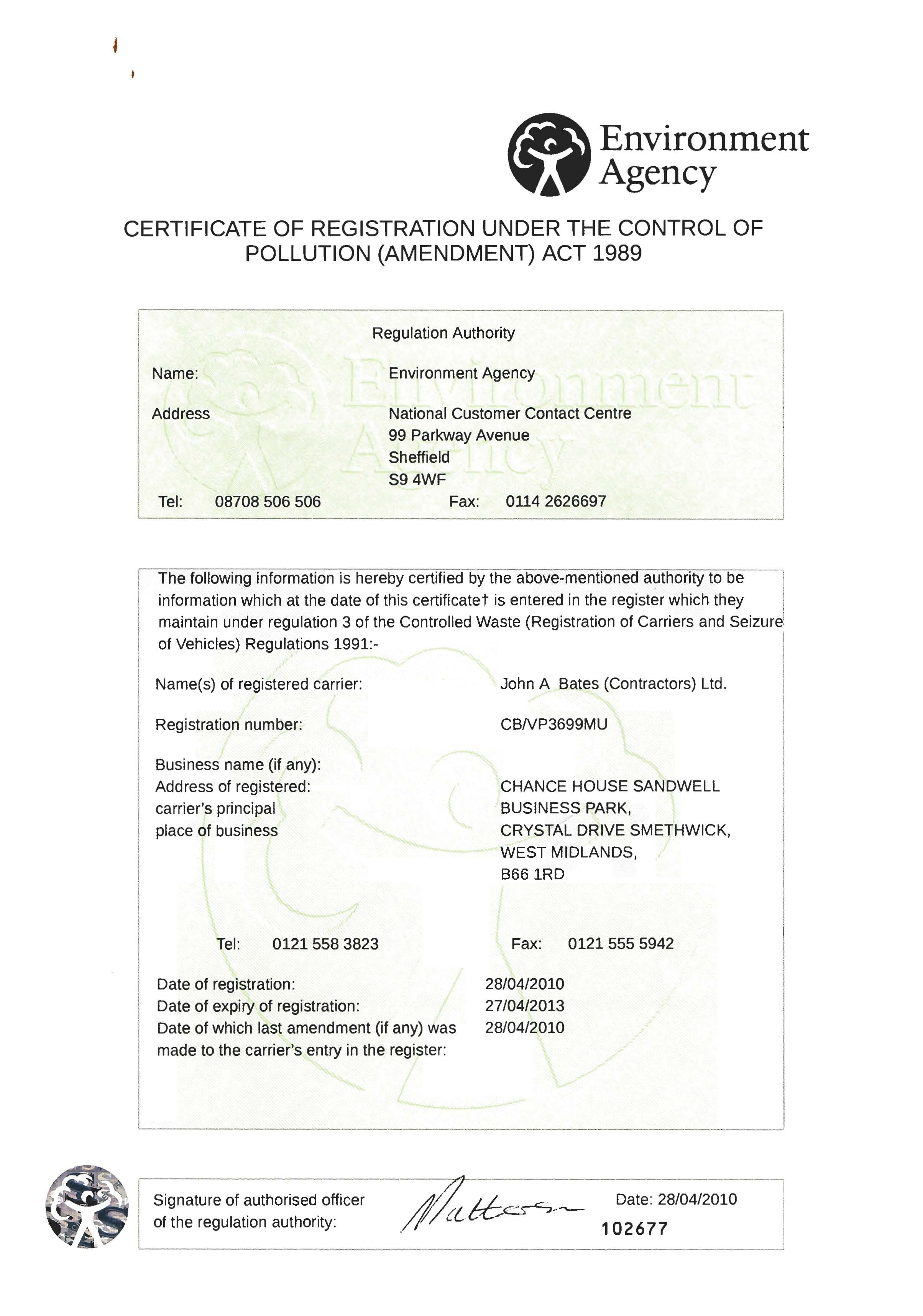 Ja bates contractors ltd certifications accreditations ea the environment agency certificate of registration 1betcityfo Choice Image
